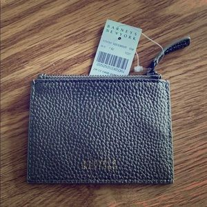 NWT Barneys New York Leather Zip Credit Card Case